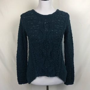 Anthropologie Moth dark teal cable knit sweater